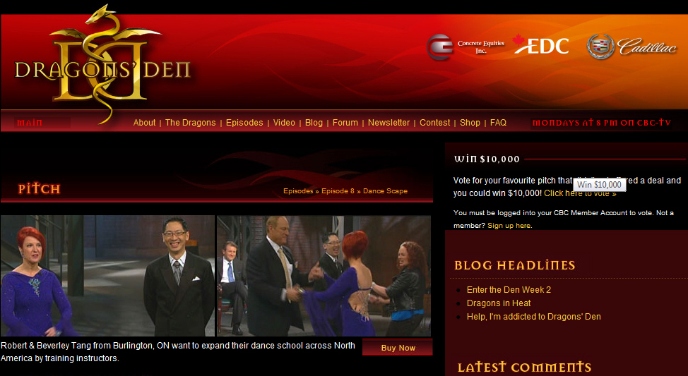 Robert Tang on Dragons' Den with Beverley Cayton-Tang